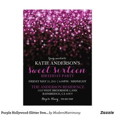 Purple Hollywood Glitter Sweet Sixteen Party Card This feminine, over the top Hollywood glam themed sweet sixteen birthday party invitation features a black background with bright purple sparkling glitter falling from the top of the card.