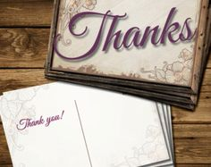 Rustic Thank You Card Printable - Instant Download - Edit Listing - Etsy