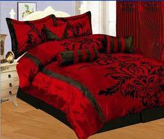 7 Pc Modern Black Burgundy Red Flock Satin Comforter Set Bed In A Bag Queen Size Bedding 21