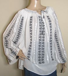 Romanian blouse 100 % handmade , black cotton and white silk . White Silk, Black Cotton, Peasant Blouse, Silk Thread, Hand Stitching, Ethnic, Bell Sleeve Top, Blouses, Gowns