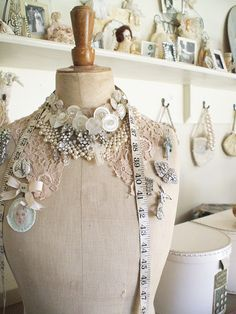 decorate with lace, bling, buttons