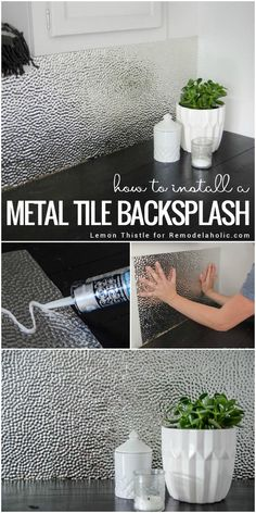 Learn how to install a unique and modern but easy to clean metal ceiling tile b. Learn how to install a unique and modern but easy to clean metal ceiling tile backsplash for a lau Metal Tile Backsplash, Metal Ceiling Tiles, Easy Backsplash, Adhesive Backsplash, Painting Tile Backsplash, Glass Tiles, Mirror Tiles, Home Renovation, Home Remodeling