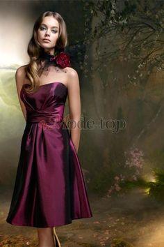 großes Bild 1 A-Line ärmellos Brautjungfernkleid mit Falte Mieder mit…