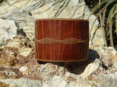 brown leather cuff/upcycled cuff by longshotleather on Etsy