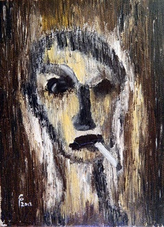 "Saatchi Online Artist Paul Costin; Painting, ""The smoker"" #art June 2012, 18×24 cm, oil on canvas, palette knife technique"