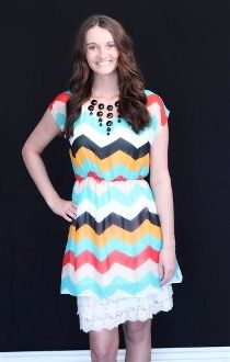 Bright Red and Turquoise Chevron Dress #bellaellaboutique