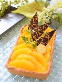 オレンジのライムカスタードタルト