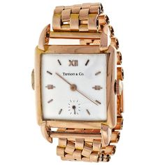 Tiffany & Co. Universal Geneve 1950 Mid Century Rose Gold Wristwatch | See more rare vintage Wrist Watches at http://www.1stdibs.com/jewelry/watches/wrist-watches