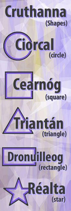 #irishfortheeyes. Learn Gaeilge, the Irish language. shape, shapes, circle, square, triangle, rectangle, star