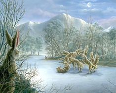 """Robert Bissell Fine Art""""The Dancing Wolves"""" 2010 oil on canvas"""