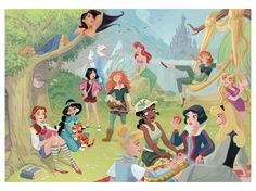 Rapunzel alice ariel jasmine MEG Aurora cinderella pocahontas Mulan Belle Giselle Tiana snow white lilo kida wendy Jane tinker bell anna nani audrey merida tiger lily lottie nakoma elsa modern disney Brair Rose Esemeralda Disney by Chantelle Disney Pixar, Walt Disney, Disney Rapunzel, Disney Nerd, Disney Fan Art, Cute Disney, Disney Girls, Disney And Dreamworks, Disney Magic