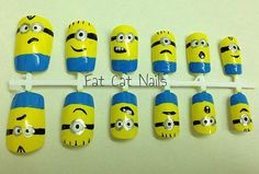 False nail set, hand painted Minion nail art. 'Minion Mayhem' from Despicable Me movie. Free nail glue.Customize your own acrylic nails by FatCatNails on Etsy https://www.etsy.com/listing/204604354/false-nail-set-hand-painted-minion-nail