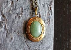 Green aventurine gemstone oval pendant locket by DelicateIndustry1
