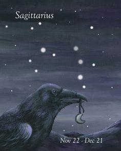 Raven holding a Moon pendant - Sagittarius by bluewolfart on Etsy