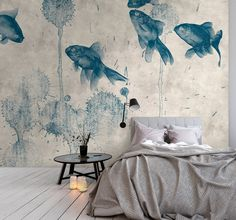 """Kathrin and Mark Patel photo wallpaper """"pond - Koi carp, fish and paint blobs on concrete structure; Kathrin and Mark Patel photo wallpaper """"pond - How To Remodel A Camper, Mawa Design, Home Wallpaper, Fish Wallpaper, Bedroom Wallpaper, Wallpaper Ideas, Wall Murals, Wall Art, Retro Vintage"""
