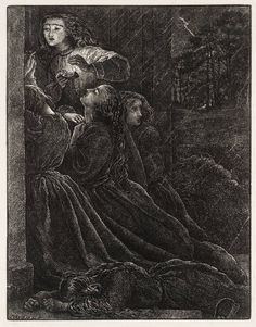 Sir John Everett Millais, Bt (1829‑1896)   The Foolish Virgins From Illustrations to 'The Parables of Our Lord', engraved by the Dalziel Brothers,   1864   Wood engraving on paper   140 x 108 mm Collection Tate