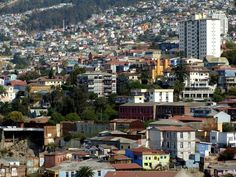 Valparaíso, Chile. The hills surrounding the Bay of Valparaíso are now populated to the very top  and beyond.