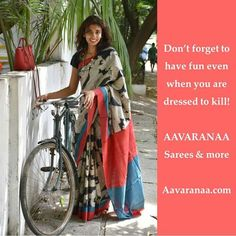 We love how casually this lady has worn the tussar saree. ..!! They can be good fun too..!! Like a breeze.