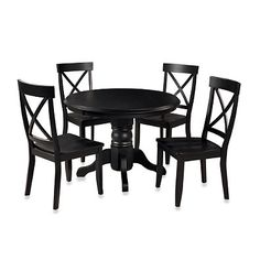 Home Styles Solid Wood 5-Piece Pedestal Table Dining Set in Black Finish