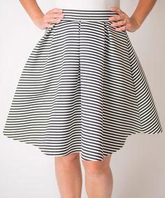 Look at this Cents of Style Black & White Stripe Circle Skirt - Women on #zulily today!