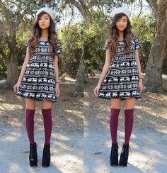 H&M White Knit Hat, Mart Of China Black Reindeer Dress, Forever 21 Burgundy Knee High Socks