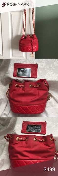 e8ec435baf8 Spotted while shopping on Poshmark  Vintage Chanel red bucket bag!  poshmark   fashion  shopping  style  CHANEL  Handbags