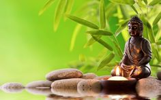 Buda con bambús y agua... relax!
