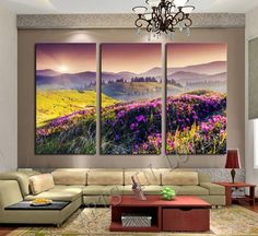 3 Pcs Yellow Grass Purple Flowers Setting Sun and Mountains Lager Art HD Picture Canvas Print Painting Wall Decorative Unframed