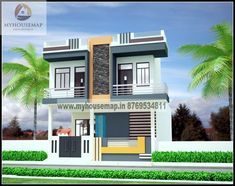 get a idea of home design at myhousemap.in and understand how we provide best house plans with latest house front elevation design in India go for india's best new design of home in and we help to make perfect design of home exterior & interior to Duplex House Design, House Front Design, Cool House Designs, Modern House Design, Modern Houses, Front Elevation Designs, Building Elevation, House Elevation, Build Your House