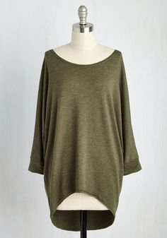 Sports Rapport Top in Olive. Watching the match with mates is oh-so fun thanks in part to this relaxed, super-soft olive-green top! #green #modcloth