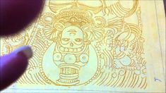 Step 2b - Yellow Ochre Outline - Tanjore Painting (kerala mural style)