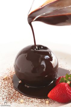 Imploding Chocolate Bombe of Hearts with Nutella Sauce by cleobuttera: Collapsing Sphere of Hearts {A show-stopping chocolate sphere, magically filled with red velvet cake hearts. Beautifully collapses to the drizzle of warm Nutella sauce. #Chocolate_Bombe
