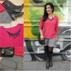 Pied de poule skirt, pink sweater and boots. Saia com estampa pied e poule, suéter pink e botas.
