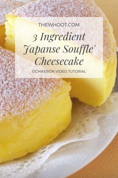 3 ingredient cheesecake japanese souffle video tutorial soft and light as air japanese cheesecake Köstliche Desserts, Clean Eating Desserts, Delicious Desserts, Dessert Recipes, Plated Desserts, Souffle Cheesecake Recipe, Souffle Recipes, 3 Ingredient Cheesecake, 3 Ingredient Desserts