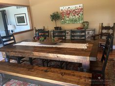 "Reclaimed 3"" thick spruce barn wood farm table has 5"" turned legs and a matching spruce bench. We handcraft custom furniture using reclaimed barn wood, in the heart of Amish country, Lancaster County, PA. Visit our showroom in Intercourse, PA for a selection of ready-made furniture for sale or to meet with a design specialist to create unique furniture that fits your lifestyle and needs."