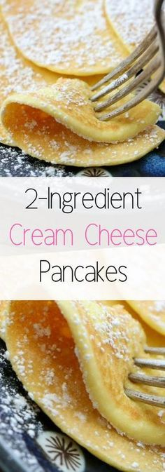 Cream Cheese Pancakes are a low-carb breakfast option that does not disappoint! Just two ingredients are all you need. Ingredients 4 ounces cream cheese 4 eggs Optional: vanilla or cinnamon I rarel No Carb Recipes, Healthy Diet Recipes, Smoothie Recipes, Primal Recipes, Paleo Meals, Low Carb Pancakes, Breakfast Pancakes, Diet Breakfast, Keto Cream Cheese Pancakes