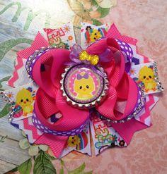 Easter Bow/Easter Hair Bow/Easter Chick Hair Bow/Happy Easter Bow/Easter Baby Bow/Easter Bunny Bow/Easter Girls Hair Bow/Girly Curl Bow by GirlyCurlBowtique on Etsy