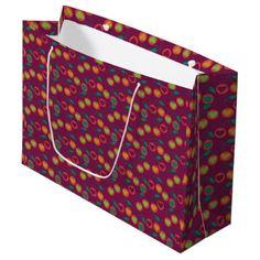 heart cherries magenta large gift bag - craft supplies diy custom design supply special