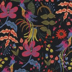 Folk Birds Canvas in Black (Rifle Paper Co - Les Fleurs Canvas)