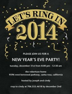 Ringing Celebration - Studio Basics: Holiday Party Invitations in black and gold.