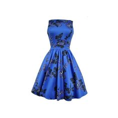 Blue Butterfly Tea Dress ($109) ❤ liked on Polyvore featuring dresses, vintage tea party dress, embellished dress, skater skirt, vintage circle skirt and butterfly dress