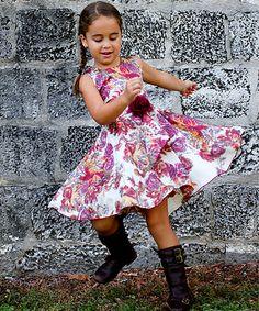 Look at this #zulilyfind! Cream & Pink Fall Floral Audrey Twirl Dress - Toddler & Girls by Mia Belle Baby #zulilyfinds