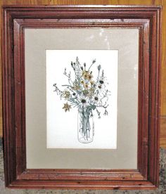 Framed Signed Litho by Mary Lou Goertzen TOADFLAX & TANSY WITH DAISIES