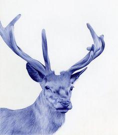 BIC pen animal portrait. #Antler #Antlers