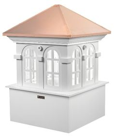 "Good Directions Smithsonian Chesapeake Vinyl Cupola with Copper Roof, 30"" x 45""  Cupolas and weathervanes make great-looking additions to homes and other building  Cupolas come in three sections - roof, middle and base- for easy installation  Cupolas come weathervane-ready with mounting hardware built inside each one  Made in the USA  All Cupolas come standard to fit up to a 10/12 pitch roof"