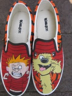 Painted Calvin and Hobbes Shoes