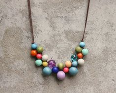 Wooden bead necklace, boho bib necklace.  I can do that...