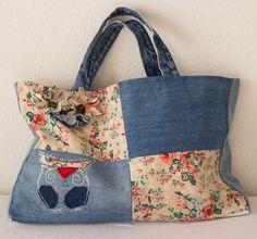 Tasche Einzelanfertigung, Einzelstück mit Eule und Blumen, gefüttert