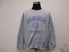 Vtg Gildan Spaulding University Crewneck Sweatshirt sz XL Extra Large Gray Blue #Gildan #Spaulding #tcpkickz