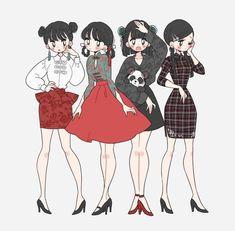 Ashley loves these outfits Cute Art Styles, Cartoon Art Styles, Arte Fashion, Ideias Fashion, Fashion Design Drawings, Fashion Sketches, Character Outfits, Character Art, Clothing Sketches